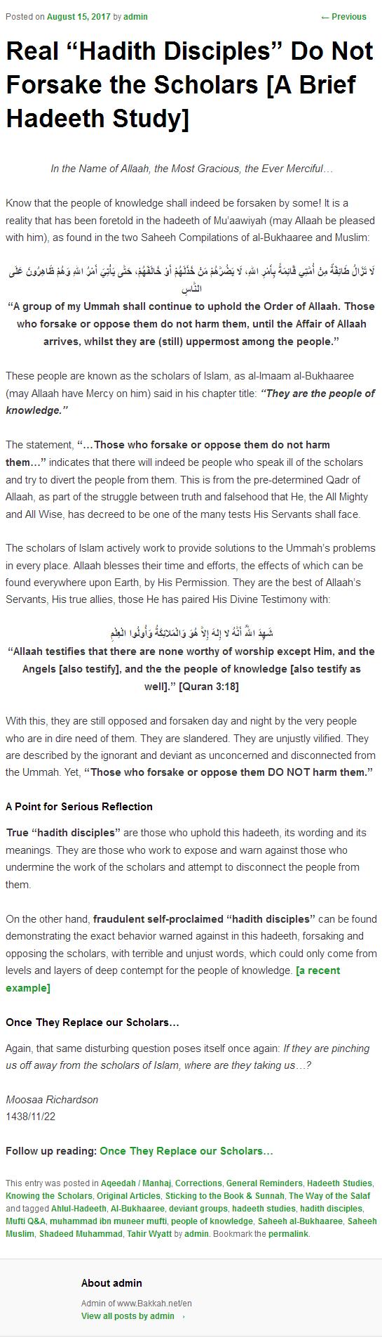 Mufti' Muhammad Munir's Accusation of Shirk Akbar Against